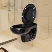 vidaXL Конзолна тоалетна чиния плавно затваряне керамична тъмнокафява