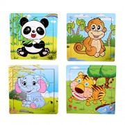 TOYMYTOY 4pcs 9 Puzzles in 1 Animal Wooden Chunky Puzzle Colorful Toys for Toddlers Preschool Aged (Elephant/Tiger/Panda/Monkey)
