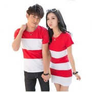 Imported Red and white t shirt dress combo for couple