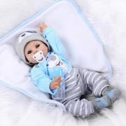 Poursuivre Bleu Yeux Bebe Reborn Silicone Reborn Bébé Poupées Jouets Éducatifs Pour Enfants Filles Garçons Silicone Bébés Reborn Poupées