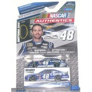 2014 NASCAR AUTHENTICS #48 JIMMIE JOHNSON LOWES Dark Blue With White Racing Stripes 1/64 1:64 SCALE DIECAST RACE CAR With Collectible Box NASCAR Authentics