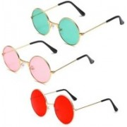 FOX fusion Round Sunglasses(Red, Pink, Blue)