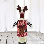 Red Wine Bottle Cover Bags Dinner Table Decoration Christmas Deer Home Party Decor