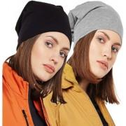 Vimal-Jonney Black And Melange Grey Beanie Cap For Women(Pack Of 2)