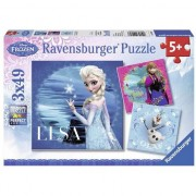 Puzzle Ravensburger - Disney Frozen, Elsa, Anna si Olaf, 3 in 1, 3x49 piese