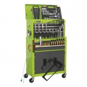 Sealey Topchest & Rollcab Combination 6 Drawer Ball Bearing Slides - Hi-Vis Green/Grey & 128pc Tool Kit