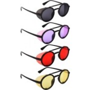 NuVew Round, Shield Sunglasses(Black, Violet, Red, Yellow)