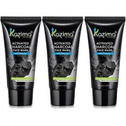 KAZIMA Activated CHARCOAL Face Wash With Green Tea ( 3PCS of 100 ML)-For For Anti Pollution ANTI AGING Anti Acne Pimp