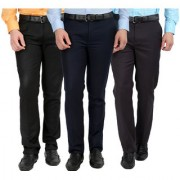 Gwalior Pack Of 3 Formal Trousers - Black Blue Grey