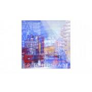 """Höffner Glasbild """"Speicherstadt II"""" ¦ blau ¦ Maße (cm): B: 30 H: 30"""
