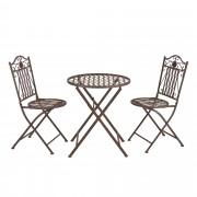 [casa.pro] Set bistro - mesa + 2 sillas - de metal marrón-pátina