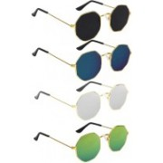 Briota Retro Square Sunglasses(Black, Blue, Green, Silver)