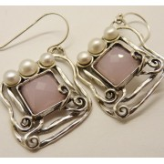 Cercei argint E5461-cuart roz (Piatra: cuart roz, Categorie: cercei)