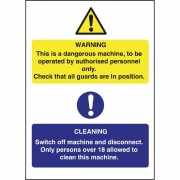 Nisbets Dangerous Machine Cleaning Sign