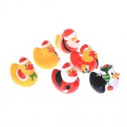 Santa Christmas Father Soft PVC Plastic Figurine Bath Toy Duck Floating Water Toys Gifts for Kids Pack of 6