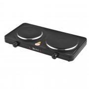 [in.tec]® Elektromos főzőlap kétlapos/dupla hordozható rezsó 2500 W, 46 x 26,5 x 7 cm öntöttvas főzőlap