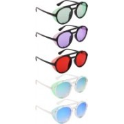 NuVew Round, Shield Sunglasses(Green, Violet, Red, Blue)