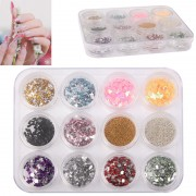 12pcs Colorful Sparkly Colors Boxed Crushed Shell Powder Nail Art Tip Decoration