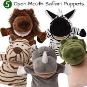 BETTERLINE 5-Piece Set Animal Hand Puppets/Zoo, Safari, Farm, Wildlife/Movable Open Mouth/Plush Pretend Toys (Safari Zoo Animals 2)