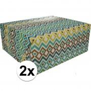 Shoppartners 2x Inpakpapier met gekleurd motief 200 x 70 cm op rol type 3