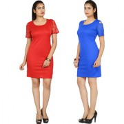 Klick2Style Pack of 2 Blue And Red Plain Bodycon Dresses For Women