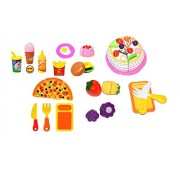 IndusBay Fast Food Resturant Pizza and Cake Set Toy with Kids All Favourite Fast Foods goddies 20 Piece Set Role Pretend Play Velcro Cutting Set