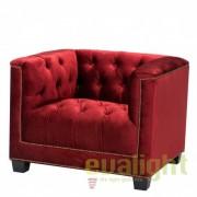 Fotoliu design clasic, elegant cu tapiterie rosie Paolo 110195 HZ