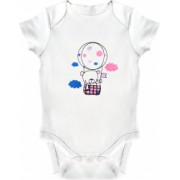 Body bebe LWS bumbac organic brodat alb model ursulet in balon 92 cm