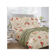 Lenjerie pentru pat matrimonial, Dormisete, renforce, imprimata, Roses, 220 x 250 cm, bumbac, Crem/Rosu