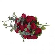 ELECTROPRIME® 2 x Artificial False Rose Silk Flowers 10 Flower Head Home Garden Decor Red