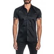 Jared Lang Woven Short Sleeve Trim Fit Shirt BLACK