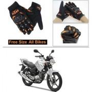 AutoStark Gloves KTM Bike Riding Gloves Orange and Black Riding Gloves Free Size For Yamaha YBR 125