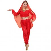 Red : Womens Belly Dance Costume, Culater® Elegant Indian Dancing Costume Set Performance Outfit Shiny Top + Pants (Red)