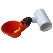 "5 Beaktime Chicken Drinker Cups with 1/2"" PVC White Mounting Brackets"