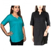 Pret A Collar Corporate Combo Blue / Black Short Kurti