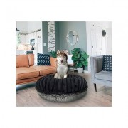 Bessie + Barnie Bagel Bolster Dog Bed w/Removable Cover, Grey/Black, Small