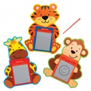 Baker Ross Jungle Animal Magnetic Drawing Boards - 12 Doodle Boards For Kids In Assorted Designs. Party Bag Filler Magic Slates. Size 10.5cm x 7.5cm.