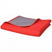 vidaXL 230x260 cm kétoldalas steppelt ágytakaró vörös és szürke