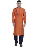 RG Designers Orange Cotton Blended Self Designed Kurta Pyjama Set for Men