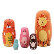Veewon Nesting Dolls Handmade Wooden Cute Cartoon Animals Pattern Matryoshka Animal Doll Russian Kids Gifts Toy 6 - 5Pcs
