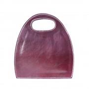Borsa da donna semiovale con manico incorporato in pelle lucida e conciata al vegetale viola made in italy produzione di pelletteria toscana