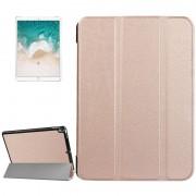 Voor iPad Pro 10.5 inch PU Litchi structuur 3-vouw Smart hoesje Clear Back Cover met houder(Rose Goud)