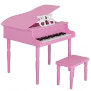 Smartxchoices Piano Toys-Wooden Pink Grand Piano with Stool Bench for Kids Baby Girls, 30-key