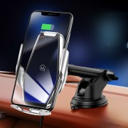 USAMS 15W Wireless Fast Charging Car Charger Automatic Clamping Car Panel Dashboard Holder - Silver