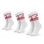 Set de 3 perechi de șosete medii unisex NIKE - CQ0301 102 Alb Roșu