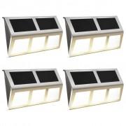 vidaXL Соларни лампи, 4 бр, LED, топло бяло