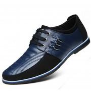 Zapatos Para Hombre Negocio Y Ecocuero Mezclado Con Cordón - Azul