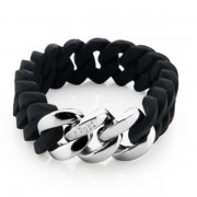 The Rubz Natural Silicone 15mm Unisex Bracelet Black & Silver