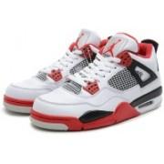 Air jordan 4 (IV) Retro White/Fire Red-Black Basketball Shoes For Men(White)