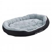 [en.casa]® Pelíšek - pro kočičky a pejsky - s oboustranným polštářem - oxford látka / PP-bavlna - 110 x 80 x 23 cm [XL] - černý / šedý
